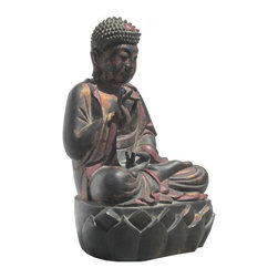 Golden Lotus - Color Lacquer Wood Hand Carving Chinese Antique Sitting Lotus Buddha Statue - Look at this peaceful Chinese antique color lacquer sitting Buddha which is made of solid elm wood.  This statue is different with the reproduction you see at the market.  You can see Buddha face and proportion which are perfect.  It should be gorgeous to put at your entrance hall way or living room.