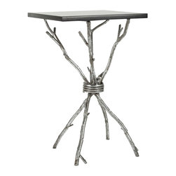 Safavieh - Alexa Accent Table - Black/ Silver Legs - Faux bois branches distinguish the Alexa accent table, artfully crafted with antiqued silver finish on iron, and contrasting black granite top.