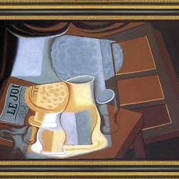 """Art MegaMart - Juan Gris Table Front Window - 16"""" x 24"""" Juan Gris The Table in Front of the Window framed premium canvas print reproduced to meet museum quality standards. Our Museum quality canvas prints are produced using high-precision print technology for a more accurate reproduction printed on high quality canvas with fade-resistant, archival inks. Our progressive business model allows us to offer works of art to you at the best wholesale pricing, significantly less than art gallery prices, affordable to all. This artwork is hand stretched onto wooden stretcher bars, then mounted into our 3 3/4"""" wide gold finish frame with black panel by one of our expert framers. Our framed canvas print comes with hardware, ready to hang on your wall.  We present a comprehensive collection of exceptional canvas art reproductions by Juan Gris."""