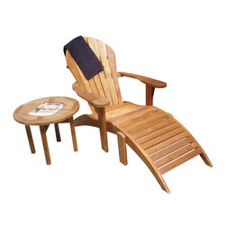 Classic Teak - Adirondack Chair with Ottoman - Our teak Adirondack chair has a deep curved seat and low flat arms. It is 37 inches high, 31.5 inches wide, 62 inches long (including the length of ottoman). It weighs 56 lbs. Main components of Adirondack chair are pre assembled by mortise and tenon construction. Some assembly is required. Teak Adirondack chair features well known design, which we have improved and made it more comfortable. Footrest is also included for more comfort. All Adirondack chairs are made from high quality teak similar to the teak used for making the decks of the cruise ships of yesteryear's. This teak chair will weather to a silvery grey finish to blend in with your patio or landscape.