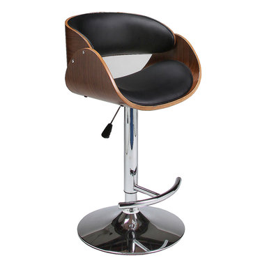Pastel Furniture - Pastel Kaffina Hydraulic Lift Barstool - Chrome & Walnut Veneer Wood - PU Black - The Kaffina barstool is a beautifully made contemporary hydraulic barstool with a simple yet elegant design that is perfect for any decor. An ideal way to add a touch of modern flair to any dining or entertaining area in your home. This barstool has a Chrome base made with a walnut veneer frame adding a traditional yet contemporary touch. The padded seat is upholstered in PU black offering comfort and style.
