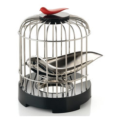 "Alessi - Alessi ""Tea Matter"" Melodic Tea Strainer - Looking for a new way to brew tea? Set your mind free. After this innovative bird-shaped tea strainer has collected leaves, he'll rest in his cage, while you filter water down his back and through the perforations."
