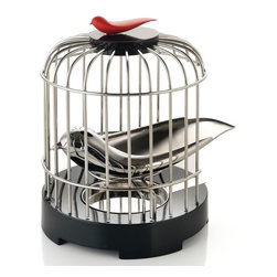 Alessi - Alessi Tea Matter Melodic Tea Strainer - Looking for a new way to brew tea? Set your mind free. After this innovative bird-shaped tea strainer has collected leaves, he'll rest in his cage, while you filter water down his back and through the perforations.