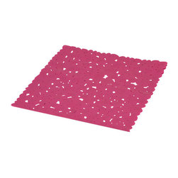 Shower Mat with Holes PVC Fuchsia - This shower mat with holes is in PVC and is mildew-resistant. Designed to look and feel comfortable with its holes, it inhibits the growth of stain and odor-causing mold and mildew on the tub mat. This square bath mat features skid-resistant suction cups that should be applied to smooth surfaces only for optimal safety. This beautiful bath rug brings an edgy style to your shower while providing a safe bath surface. Machine wash cold and no dryer. Length 20-Inch and width 20-Inch. Color fuchsia. This fashionable shower mat adds a stylish element to your bathroom! Complete your bath decoration with other products of the same collection. Imported.