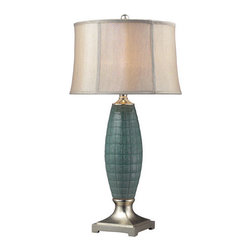 Dimond Lighting - Dimond Lighting D2272 Cumberland Single-Light Table Lamp, in Turquoise Glaze and - The turquoise glaze finish on this ceramic table lamp gives it a very distinctive and attractive appearance.Features: