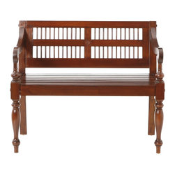 Holly & Martin - Holly & Martin Cheyenne Classic Bench-Mahogany - Spice up your entryway, dining or bedroom with this beautifully crafted mahogany bench. Styled with ornate spindle front legs, a slat style seat, and inlayed dowel backrest, you are sure to want one it every room! The hardwood mahogany construction is paired with a rich mahogany finish for a truly classic piece that is sure to become a family heirloom. Treat yourself with an inspirational seat for two!