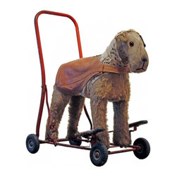 "Airedale Scooter - Wonderful child's scooter from the 30's.  English in origin and very well loved!  Small dog tag ""Prince"" and we love his newer western vest and tattered tail!   Appropriate wear for age and use- but is still in excellent and useable condition."