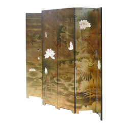 Golden Lotus - Set/ 6 Pieces Chinese Double Sides Gold Lotus Painting Room Divider Panel - This is a Chinese traditional room divider panel which is made of solid elm wood.  It has unusual gold lotus bird hand painting on it.