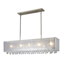Z-Lite - Z-Lite 894-45W Brushed Nickel Aura 5 Light Chandelier with White Organza Shade - The Aura family of linear shaded fixtures feature a stunning double line of multi faceted pyramid crystal. This fixture features a white organza shade. In all cases the fixtures are finished with brushed nickel.