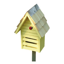 Heartwood - Lady Bug Loft Yellow Ladybug House - This  beautifully  crafted  ladybug  loft  is  the  perfect  finishing  piece  for  any  yard.  The  copper  top  lining  on  the  hand-shingled  roof  is  a  great  compliment  to  the  present  wood  and  ladybug  accent.This  classic  is  an  enjoyment  for  both  you  and  the  tiniest  of  ladybug  friends.Comes  in  a  variety  of  colors.          Product  Details:                  6x8x10              Available  in  grey,  green,  red,  white  and  yellow              Handcrafted  in  USA  from  renewable,  FSC  certified  wood