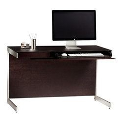 BDI - Sequel Compact Desk, Espresso - The Sequel Compact Desk is perfect for those needing to conserve office space. It has a modern and structured design with steel base. Features like cord management and an internal power strip make your desk space clean and organized. It comes equipped with a catch all top drawer. Choose from 3 color options.