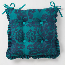 Magnolia Seat Cushion, Sapphire - You definitely want to be comfy dining outdoors. These are so pretty they can be used indoors too.