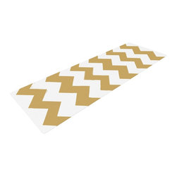 "KESS InHouse - KESS Original ""Candy Cane Gold"" Chevron Yoga Mat - Release your inner yogi in style with these artistically unique yoga exercise mats. These mats allow you to stretch and pose freely and comfortably as they are 72"" x 24""! Made of a durable, textured non-slip backing foam, these 1/4"" thick mats will cushion your body to allow you to child's pose and more during your workout routine. Carry your lightweight mat in a polyester blend bag with an adjustable shoulder strap for easy travel and clean up. These yoga exercise mats can be cleaned with a swipe of a towel and mild soap."