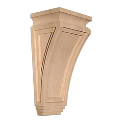 "Inviting Home - New York Small Corbel - Cherry - wood corbel in cherry 9""H x 4""D x 6""W Corbels and wood brackets are hand carved by skilled craftsman in deep relief. They are made from premium selected North American hardwoods such as alder beech cherry hard maple red oak and white oak. Corbels and wood brackets are also available in multiple sizes to fit your needs. All are triple sanded and ready to accept stain or paint and come with metal inserts installed on the back for easy installation. Corbels and wood brackets are perfect for additional support to countertops shelves and fireplace mantels as well as trim work and furniture applications."