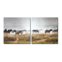 "Baxton Studio - Baxton Studio A Zeal of Zebras Mounted Photography Print Diptych - Banded with black and white, these regal beasts of the savannah huddle together for protection from predators. This photograph is arranged as a two-piece modern wall art set: two pieces of waterproof vinyl canvas feature half of the image on each and are mounted to MDF wood frames. The Zeal of Zebras Photo Diptych is made in China, and is fully assembled. Hardware for hanging on the wall of your choice is not supplied. To clean, wipe with a dry cloth. Product dimension: 19.68""W x 1""D x 19.68""H"