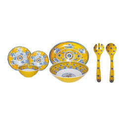 Le Cadeaux - Le Cadeaux Benidorm 16-Piece Dinnerware Set, Yellow - Triple strength melamine - not microwave safe but dishwasher safe.