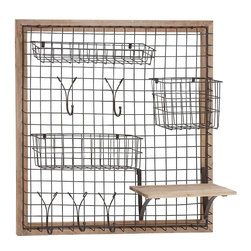 """Benzara - The Ingenious Wood Metal Wall Strong Rack - Are you searching high and low for a wood metal wall strong rack that can serve you either in your kitchen or in your bedroom? Looking for a rack that can be attached to a wall, integrating with it most readily? Well, this wood metal wall strong rack that is square in shade will do just that. With baskets and hooks made from metal wire, this rack can hold various things in various parts of your home. Thus it could be useful in the kitchen or in the bedroom.But this rack is not just cute looks. It has been made using quality materials. This ensures that it will last in tiptop condition for years to come. Perfect for all types of homes; people will instantly notice it and thus praise your choice. So why wait? Consider getting this strong rack today. Wood metal wall strong rack dimensions: 28 inches (W) x 8 inches (D) x 28 inches (H); Wall strong rack color: Light brown, Black; Made from: Wood, Metal; Dimensions: 32""""L x 3""""W x 32""""H"""