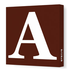 """Avalisa - Letter - Upper Case 'A' Stretched Wall Art, Brown, 12"""" x 12"""" - Spell it out loud. These uppercase letters on stretched canvas would look wonderful in a nursery touting your little one's name, but don't stop there; they could work most anywhere in the home you'd like to add some playful text to the walls. Mix and match colors for a truly fun feel or stick to one color for a more uniform look."""