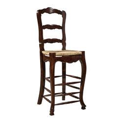 EuroLux Home - Pair Mahogany Ladderback Barstools - Product Details