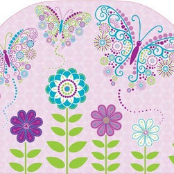 "Brewster Home Fashions - Social Butterfly Headboard Decal - Adding a headboard to the bed creates a finished and fashionable look in the room. This darling peel and stick decal brings the beauty of a curvaceous headboard to the room with the convenience of a removable decal. Friendly butterflies swirl out of a whimsical flower garden set on a pretty purple texture. Your little one will love the extra special touch that this headboard decal brings to her room. Measures 26""x41"""