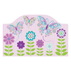 """Brewster Home Fashions - Social Butterfly Headboard Decal - Adding a headboard to the bed creates a finished and fashionable look in the room. This darling peel and stick decal brings the beauty of a curvaceous headboard to the room with the convenience of a removable decal. Friendly butterflies swirl out of a whimsical flower garden set on a pretty purple texture. Your little one will love the extra special touch that this headboard decal brings to her room. Measures 26""""x41"""""""