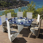 Outdoor Dining Furniture - The contemporary design of the Sarape dining collection presents a Mediterranean flair to your ourdoor dcor.