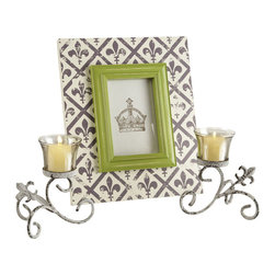 Fleur de Lis Frame with Votive Candle Holders - The perfect blend of classic and modern. We combine a unique and modern frame with the classic and timeless French styling featuring the Fleur de Lis design element. Showcase your cherished memories by highlghting one of your pictures in this unique frame set off with the two fleur votive holders on each side.