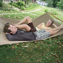 Fifthroom - Tifton Twintex Hammock - If you want to find out just how comfortable a length of fabric can be, stretch out on our Tifton Twintex Hammock, and see how long it takes before you feel like getting up again.  If you want to find out just how strong a length of fabric can be, stay there that long.  Of course, it will take years of repeating this process, day after day, to get the final results.  In the meantime, if anyone asks why you are always lying around in a hammock, just say that you're conducting a scientific experiment.