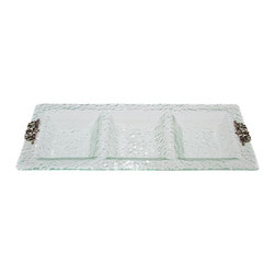 Thirsty Stone - 3 Section Glass Tray w Pewter Scroll Accent - Hammered glass. Stylish Pewter accents. Hand wash. No assembly required. 23 in. L x 9 in. W x 1.5 in. H (3 lbs.)