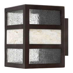 Hinkley Lighting - Sierra Outdoor Wall Lantern - Sierra features a solid aluminum construction and is complemented by panels of clear seedy glass and natural stone. Rustic Spanish Bronze finish.Back Plate Dimensions: 5 in. W x 5 in. H.