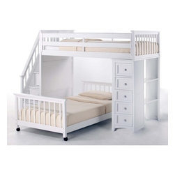 Ne Kids - NE Kids School House Stairway Loft with Chest End - White - 7090-CHEST - Shop for Bunk Beds from Hayneedle.com! The perfect choice for any parent who appreciates a blend of practical function and contemporary style the School House Stair Loft with Chest End - White makes a versatile addition to your child's room. Your child will love climbing up the staircase complete with handrail to the twin-size upper bed unit feeling quite like a grown-up. If you have a younger child you can even choose a twin or full size lower bed so the siblings have each other for company. Three drawers on side-mounted Euro guides are integrated into the steps for handy storage while the bottom drawer is a rolling toy box to put away favorite toys at the end of the day. The five-drawer chest unit keeps clothes and socks organized even as fully integrated shelves serve as a desk to make homework time fun. Available with or without the lower bed. Offering endless possibilities to adapt to your child's sleep and storage needs this loft unit meets or exceeds CPSC requirements for safety and comes with side rails and guardrails for your peace of mind. Made of sturdy hardwoods and veneers this white finish that will enhance most settings. Dimensions: Loft bed: 99.5L x 42W x 67H inches CPSC recommends the tops of the guardrails must be no less than 5 inches above the top of the mattress and that top bunks not be used for children under 6 years of age. About New Energy KidsNE Kids is a company with a mission: to establish and import truly unique furniture for your child. For over thirty years they've been accomplishing this mission with flying colors one room at a time. Not only will these products look fabulous they will provide perfect safety for your children by adhering to the highest standards set by the American Society for Testing and Material and the Consumer Products Safety Commission. Your kids are in the best of hands and everyone will appreciate these high-quality one-of-a-kind