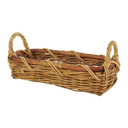 Eco Displayware - Small Rectangular French Bread Rattan Basket - Great for closet, bath, pantry, office or toy and game storage. Earth friendly. 16.5 in. L x 7 in. W x 7 in. H (2.94 lbs.)These natural colored baskets add warmth and charm and keep you organized.