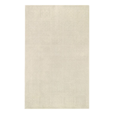 First impressions rug in Ivory - Treasured antique wood block designs faithfully reproduced through hand carving make this lush, 100% wool pile rug collection an impressive offering for any home.