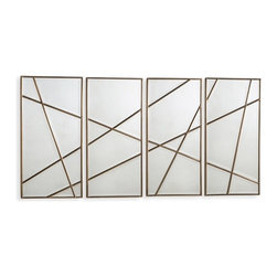 Interlude - Interlude Natasha Wall Panels - Set of 4 - A quartet of mirrored panels brings sculptural dimension whether hung together or apart.