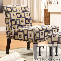 Tribecca Home - TRIBECCA HOME Decor Cube Print Accent Lounge Chair - Add a contemporary style to your family room or sitting room decor with this cube print accent lounge chair. The block pattern creates an attractive visual, while the cushioned seat and back provide luxurious relaxation to your home.