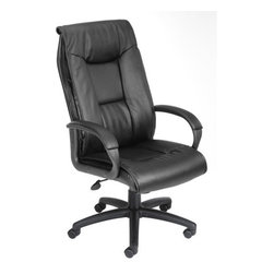 Boss Office Products - Pillow Top Design High-Back LeatherPlus Office Chair - Features: -High back.-Pillow top design with a perforated center.-Padded armrests covered with Caressoft upholstery.-Pneumatic gas lift seat height adjustment.-Large 27'' nylon base for greater stability.-Hooded double wheel casters.-Weight capacity: 250 lbs.-Beautifully upholstered in black LeatherPLUS.-Please Note: Orders of 6 chairs or more will ship Truck-Freight..-Distressed: No.Dimensions: -Back dimensions: 27.5'' H x 21.25'' W.-Seat dimensions: 17.5'' - 21.5'' H x 21'' W x 20'' D.-Overall dimensions: 40'' - 43'' H x 27'' W x 27'' D.-Overall Product Weight: 40 lbs.