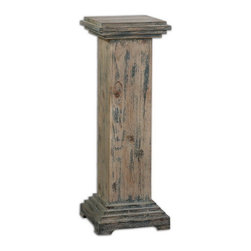 Uttermost - Uttermost 24352  Alejo Aged Wood Pedestal - With hints of prussian blue paint on smooth, faded gray, weathered fir, this solid wooden pedestal makes a sturdy and attractive place for a statement piece.