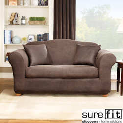Sure Fit - Sure Fit Stretch Leather 2-Piece Sofa Slip Cover - Give your furniture a brand new look with this sofa slipcover set. The brown cover is constructed from stretch leather material to provide a perfect fit. This machine washable slipcover set will add comfort and color to your home decor.