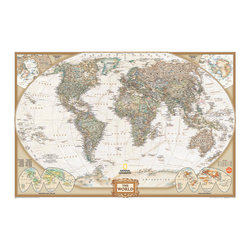 """WallPops - National Geographic World Map Wall Decal - Maps are a timeless decor accent, bringing a scholarly sophistication to any space. This Executive World Map decal features fine National Geographic draftsmanship and a distinguished palette of classic greens, browns and taupe. Enhance and refine the look of yourhome or office with this attractive peel and stick dry-erase map of the world. It also comes with a dry-erase marker for plotting travels and making business plans. This dry erase map is 24"""" x 36"""" and is repositionable."""