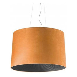 Axo Lightecture - Velvet Suspension - Velvet Suspension features a cone shape shade covered in a flame-retardant Micro 2000 fabric made of polyester and cotton which has a suede appearance. Available in four size options. Outer shade options include Orange, Light Blue, Ivory White, Ice White, Blue, Brown, Black and Maroon. The radial bottom light diffuser is made with Ponge fabric strips available in White, Warm White or Black. Bottom diffuser also available in Electric Blue, Gold Yellow, Brown, Brick Red, Maroon, Red or Green by special request. Finish in White. Small and medium sizes require one 100 watt 120 volt A19 medium base incandescent lamp, not included. Large requires three 75 watt plus one 60 watt A19 medium base incandescent lamp, not included. Extra Large requires four 75 watt plus one 60 watt A19 medium base incandescent lamps, not included. ETL listed. Dimensions: Small: 19.6 inch diameter x 13.75 inch shade height x 128 inch maximum overall height. Medium: 27.5 inch diameter x 17.4 inch shade height x 129.9 inch maximum overall height. Large: 39.4 inch diameter x 24.75 inch shade height x 137.75 inch maximum overall height. Extra Large: 63 inch diameter x 35.4 inch shade height x 149.6 inch maximum overall height.
