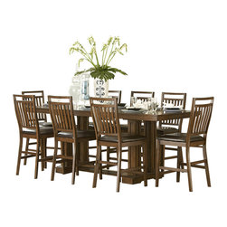 Homelegance - Homelegance Everett Double Pedestal Counter Height Table in Oak - Create a casual feeling in your formal dining room with the classic Everett collection. Arts and crafts styling is used to add an air of tradition to this new dining concept. The gathering height table is 96 inches long allowing for the casual atmosphere created by counter height seating while still allowing for large groups to gather. The dining group's trestle base table, medium oak finish over oak veneers with bowtie inlay accents perfectly exemplifies the arts and crafts style of this new dining configuration. Also available in cherry finish.