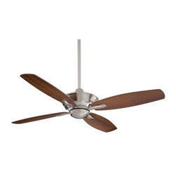 Minka Aire - Minka Aire New Era Ceiling Fan in Brushed Nickel - Minka Aire New Era Model F513-BN in Brushed Nickel with Dark Walnut Finished Blades.