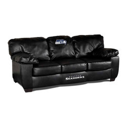 Imperial International - Seattle Seahawks NFL Black Leather Classic Sofa - Check out this AWESOME Leather Sofa. It is incredibly comfortable and has a great contemporary design with black leather all over. Each team logo is embroidered and sewn on the center cushion, and the center of the frame. This is a true statement piece that is perfect for your Man Cave, Game Room, basement or garage.