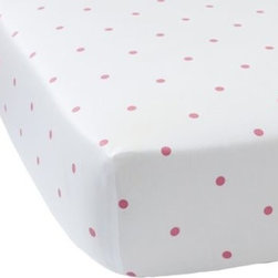 Serena & Lily - Penny Dot Crib Sheet  Melon - A playful dotted print for the crib, done up in modern melon on pure white. Keep it simple by pairing it with our Nursery Basics trimmed in the same shade, or have a little fun by mixing in an unexpected pop of color. Think aqua, navy or sunshine.