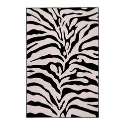 None - Rubber Back Black and Snow White Zebra Print Non-Slip Area Rug (3'3 x 5') - This affordable and fashionable rubber back black and snow white zebra print non-slip area rug jjj(3'3 x 5')kkk is a great way to set a color theme in the home.