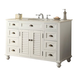 "Cottage look Glennville Bathroom Sink vanity 47"" - The plantation-inspired look of this cottage-style sink cabinet will add casual elegance to any bathroom decor. Shutter-style door with blue finish, this bathroom vanity offers a look that will create a relaxing retreat in any home."