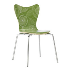 Scoop-Back Chair, Etched Flower - This bright green hue is sure to blend easily with decor and the lacquered finish makes for easy cleanup.