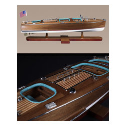 "Authentic Models - Authentic Models Triple Cockpit Wooden Speedboat - Looking for that perfect accessory for your child's room? Then Authentic Models has everything you could need with their nautical decor and furniture collection. Each piece in this collection is of the highest quality. These Authentic Models Speedboat with it's rich leather padded seats adds that special touch to your home decor. * Dimensions: 25.2"" Length x 7.9"" Width x 7.5"" Height."
