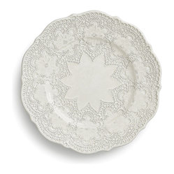 Arte Italica - Merletto Antique Salad/Dessert Plate - This quick-change artist goes from salad to dessert plate in the blink of an eye. Handmade in Italy with a vintage lace pattern, each is unique and variations in color and size are to be expected and celebrated.