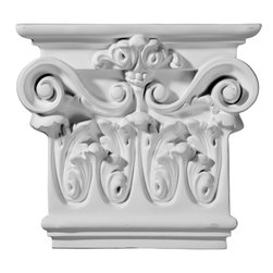 """Ekena Millwork - 7 7/8""""W x 1 7/8""""D x 7 1/2""""H Artis Capital - 7 7/8""""W x 1 7/8""""D x 7 1/2""""H Artis Capital. Our appliques and onlays are the perfect accent pieces to cabinetry, furniture, fireplace mantels, ceilings, and more. Each pattern is carefully crafted after traditional and historical designs. Each polyurethane piece is easily installed, just like wood pieces, with simple glues and finish nails. Another benefit of polyurethane is it will not rot or crack, and is impervious to insect manifestations. It comes to you factory primed and ready for your paint, faux finish, gel stain, marbleizing and more."""